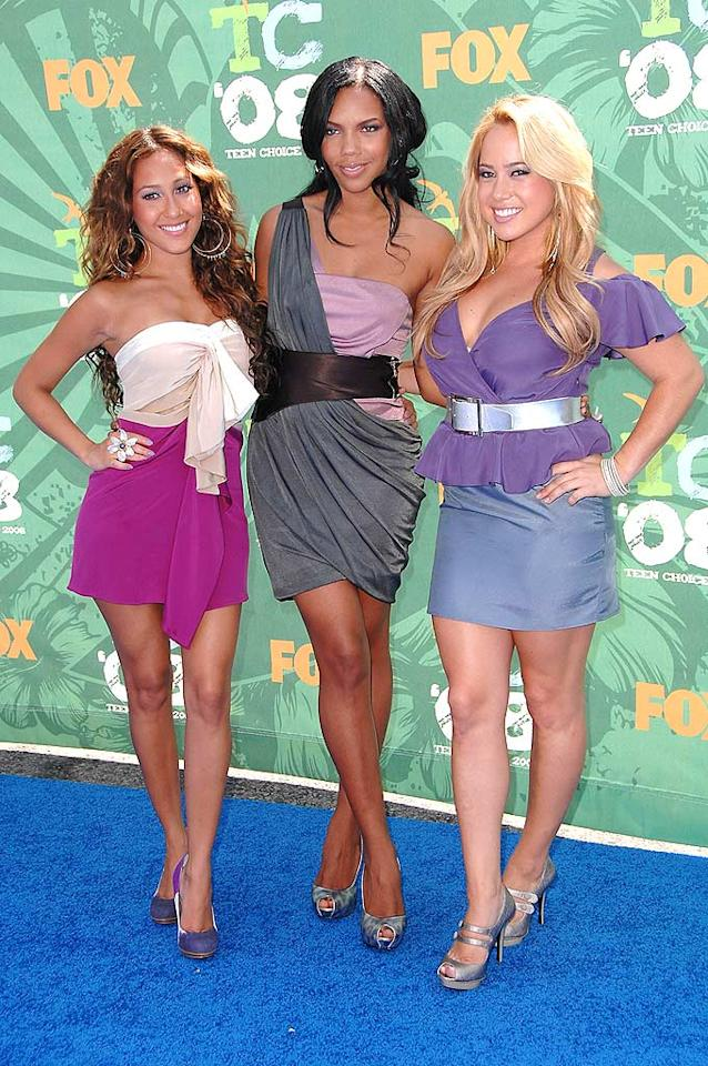 """Cheetah Girls Adrienne Bailon, Kiely Williams, and Sabrina Bryan disappointed in their tacky attire. Steve Granitz/<a href=""""http://www.wireimage.com"""" target=""""new"""">WireImage.com</a> - August 3, 2008"""