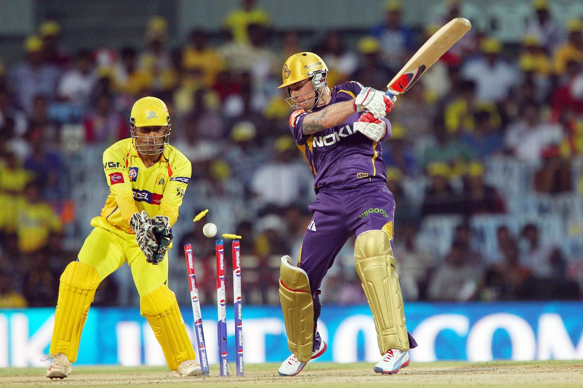 Brendon McCullum is bowled by Mohit Sharma during match 38 of the Pepsi Indian Premier League between The Chennai Superkings and the Kolkata Knight Riders held at the MA Chidambaram Stadiumin Chennai on the 28th April 2013. (BCCI)