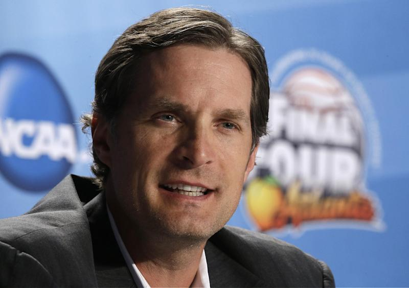 Former NBA basketball player Christian Laettner speaks during a NCAA Final Four tournament college basketball 75th anniversary news conference, Friday, April 5, 2013, in Atlanta. Wichita State plays Louisville in a semifinal game on Saturday. (AP Photo/John Bazemore)
