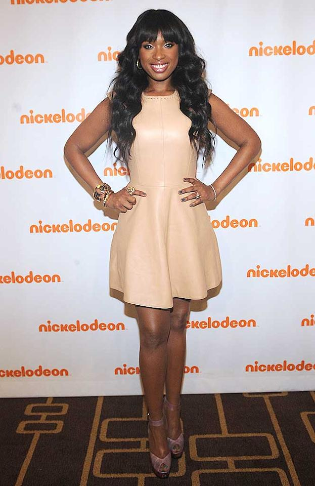 "Also spotted sporting a nude-colored number ... the multi-talented Jennifer Hudson, who rocked a $3,100 Chloe Whipstich leather dress (and Fendi peep-toes) upon arriving at a Nickelodeon presentation in NYC. Brad Barket/<a href=""http://www.picturegroup.com"" target=""new"">pictureGroup.com</a> - March 9, 2011"