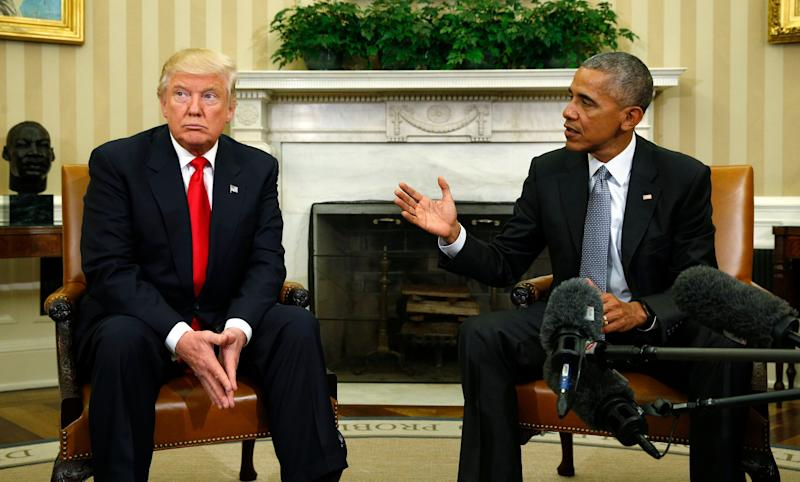 President Barack Obama and then-President-elect Donald Trump meeting at the White House on Nov. 10, 2016. (Kevin Lamarque / Reuters)