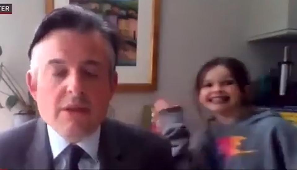 Labour MPJon Ashworth is interrupted by his daughter Annie (BBC)