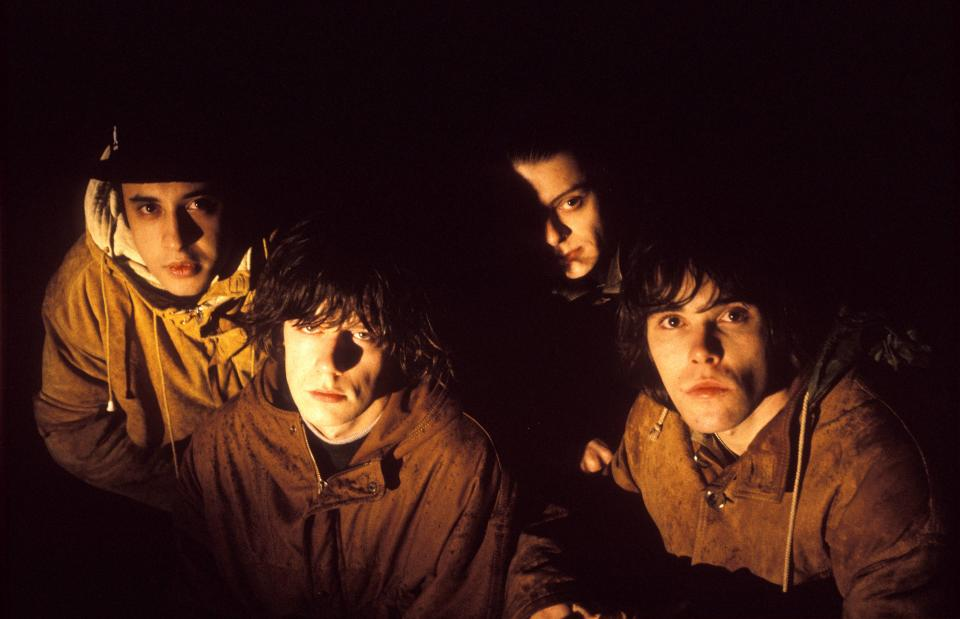 English rock group The Stone Roses posed in Hilversum, Netherlands in 1992. Left to right: Alan 'Reni' Wren, John Squire, Gary 'Mani' Mounfield and Ian Brown. (Photo by Michel Linssen/Redferns)