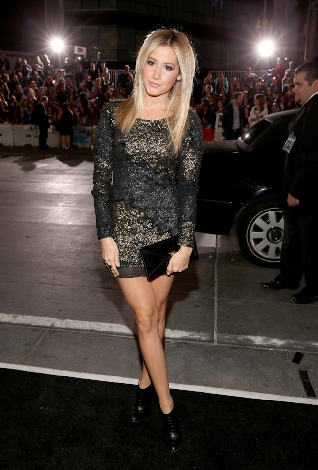 "Ashley Tisdale arrives at the premiere of Summit Entertainment's ""The Twilight Saga: Breaking Dawn - Part 2"" at Nokia Theatre L.A. Live on November 12, 2012 in Los Angeles, California.  (Photo by Christopher Polk/Getty Images)"