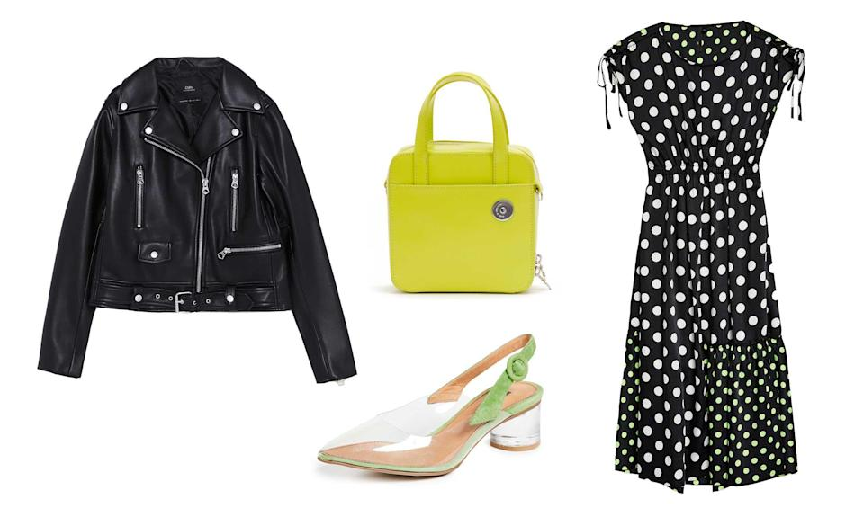"""<p>Not ready to dive into the all-in-one neon and animal print trend? Try opting for a trusty polka-dot frock, but with a twist. By choosing a classic print with a subtle neon touch and pairing it with staple fall pieces, you can further dress it up with neon accessories.<br>Topshop, Mixed Spot Print Skater Dress by Boutique, $150, <a rel=""""nofollow noopener"""" href=""""https://fave.co/2NUcKsZ"""" target=""""_blank"""" data-ylk=""""slk:topshop.com"""" class=""""link rapid-noclick-resp"""">topshop.com</a><br>Zara, Faux Leather Zippered Jacket, $69.90, <a rel=""""nofollow noopener"""" href=""""https://fave.co/2xkYv7b"""" target=""""_blank"""" data-ylk=""""slk:zara.com"""" class=""""link rapid-noclick-resp"""">zara.com</a><br>Matiko, Zuma Block Heel Pumps, $90,<a rel=""""nofollow noopener"""" href=""""https://fave.co/2xlRgM0"""" target=""""_blank"""" data-ylk=""""slk:shopbop.com"""" class=""""link rapid-noclick-resp""""> shopbop.com</a><br>Kara, Lime Brick Bag, $395, <a rel=""""nofollow noopener"""" href=""""https://fave.co/2xoBLmA"""" target=""""_blank"""" data-ylk=""""slk:karastore.com"""" class=""""link rapid-noclick-resp"""">karastore.com</a> </p>"""