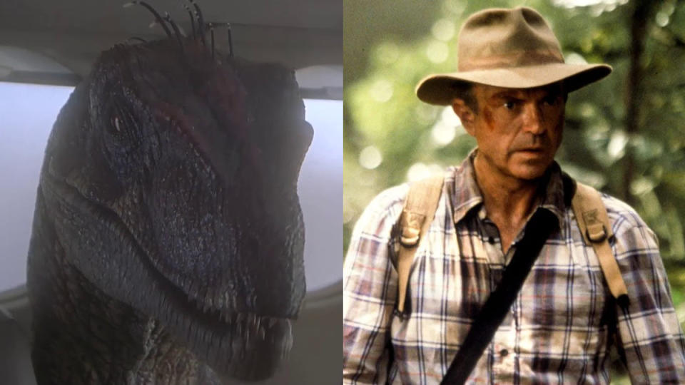 The talking raptor scene in 'Jurassic Park III' is a controversial one. (Credit: Universal)
