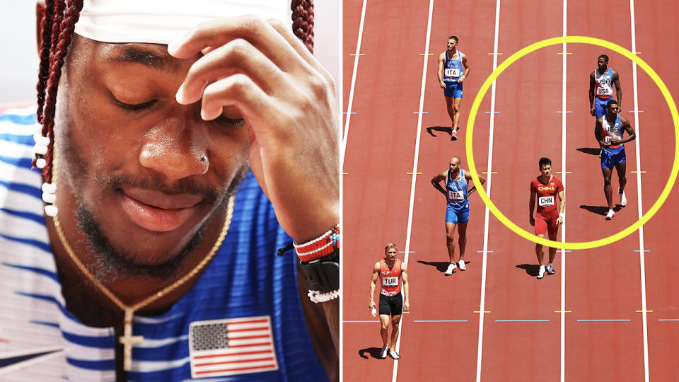 USA, pictured here after missing the final in the men's 4x100m relay at the Olympics.