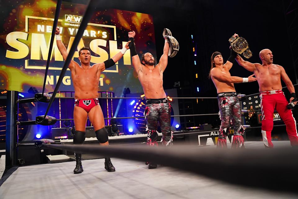 The Young Bucks' Nick Jackson (centre-right) in the ringAEW