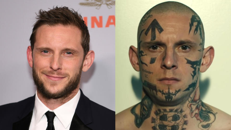 As a former neo-Nazi dealing with the lasting impact of his past beliefs, Bell had to sport an entire face's worth of tattoos. He's a long way from Billy Elliot now. (Credit: Morgan Lieberman/WireImage/Lionsgate)