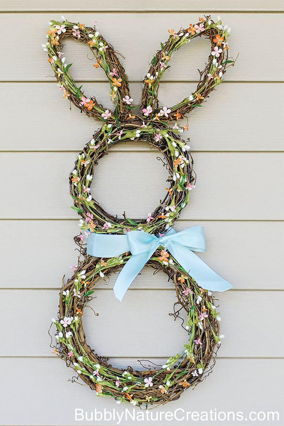 """<p>How adorable is this bunny wreath? Grab extra supplies, because all of your friends will want one too!</p><p><strong>Get the tutorial at <a href=""""http://sprinklesomefun.com/2013/03/bunny-wreath.html"""" rel=""""nofollow noopener"""" target=""""_blank"""" data-ylk=""""slk:Sprinkle Some Fun"""" class=""""link rapid-noclick-resp"""">Sprinkle Some Fun</a>. </strong></p><p><strong><a class=""""link rapid-noclick-resp"""" href=""""https://www.amazon.com/Bulk-Buy-Darice-Grapevine-Wreath/dp/B0033M0HG4?tag=syn-yahoo-20&ascsubtag=%5Bartid%7C10050.g.4088%5Bsrc%7Cyahoo-us"""" rel=""""nofollow noopener"""" target=""""_blank"""" data-ylk=""""slk:SHOP GRAPEVINE WREATHS"""">SHOP GRAPEVINE WREATHS</a><br></strong></p>"""