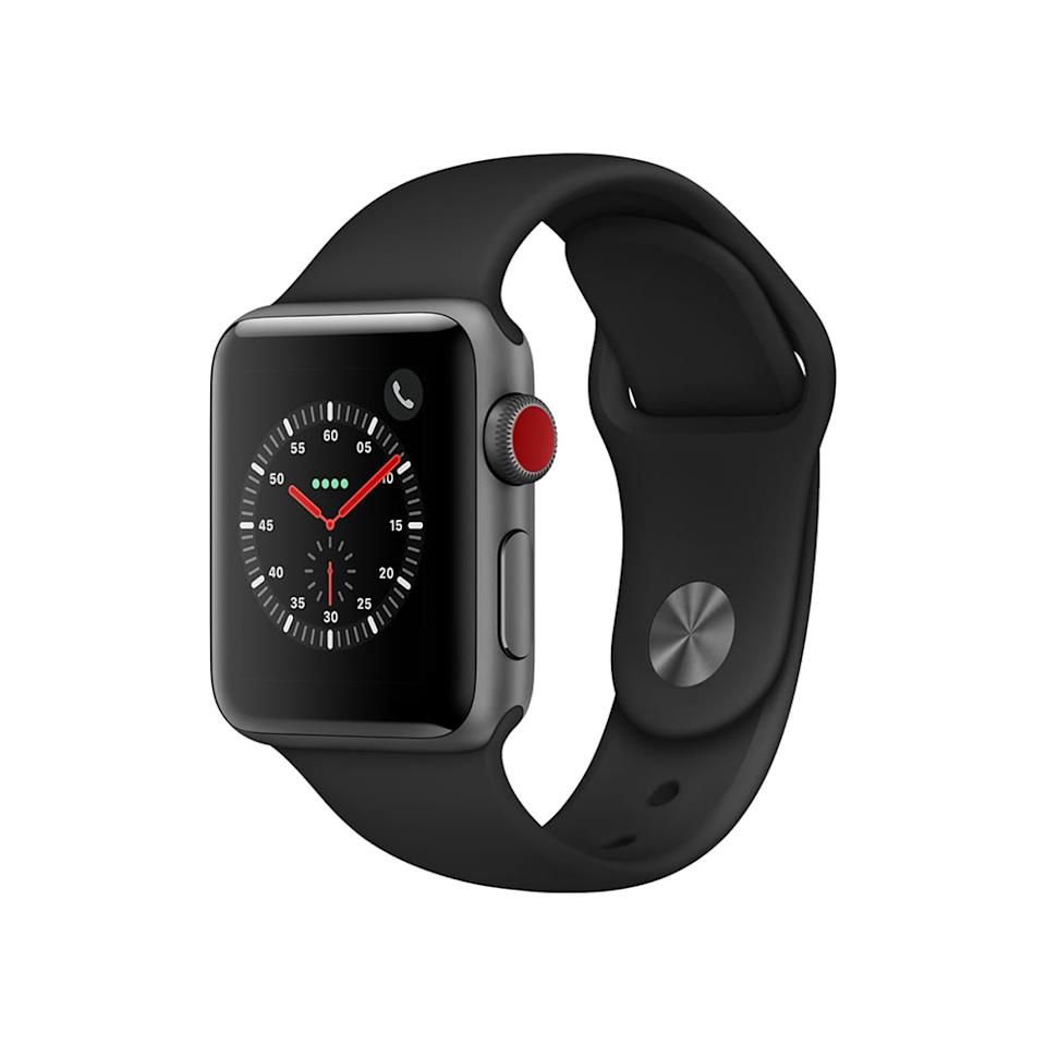 Apple Watch Series 3, GPS+Cellular, 38mm, Sport Band, Aluminum Case in Space Gray/Black. (Photo: Walmart)