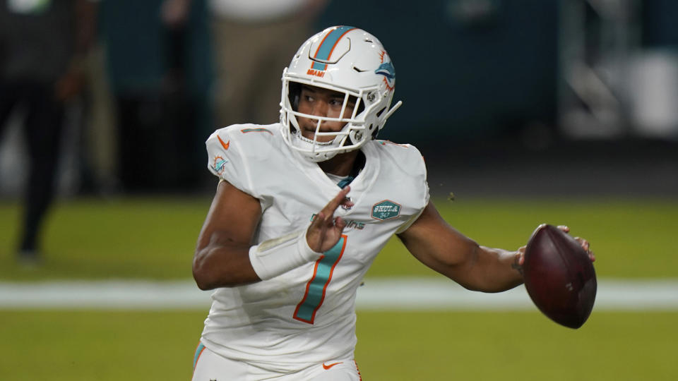 Tua Tagovailoa will reportedly make his first NFL start on Sunday for the Dolphins against the Los Angeles Rams. (AP Photo/Lynne Sladky)