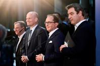Armin Laschet, Ralph Brinkhaus, Alexander Dobrindt and Markus Soeder attend a news conference in Berlin