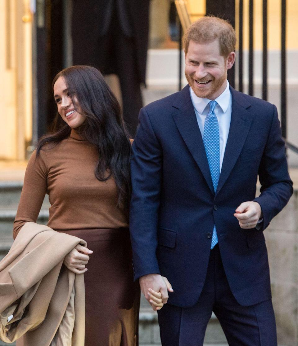 """<p>In a move that shocked the world—including the Queen—Prince Harry and Meghan Markle announced <a href=""""https://www.instagram.com/p/B7EaGS_Jpb9/?hl=en"""" rel=""""nofollow noopener"""" target=""""_blank"""" data-ylk=""""slk:via Instagram"""" class=""""link rapid-noclick-resp"""">via Instagram</a> that they """"intend to step back as 'senior' members of the Royal Family and work to become financially independent, while continuing to fully support Her Majesty The Queen."""" Their message spurred a <a href=""""https://www.bbc.com/news/uk-51164232"""" rel=""""nofollow noopener"""" target=""""_blank"""" data-ylk=""""slk:response from the palace"""" class=""""link rapid-noclick-resp"""">response from the palace</a>, where the monarch stated that the couple would split their time between the U.K. and Canada.</p>"""