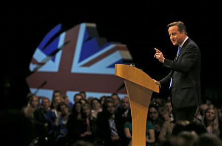 Britain's PM David Cameron delivers his keynote address to the Conservative Party annual conference in Manchester, northern England