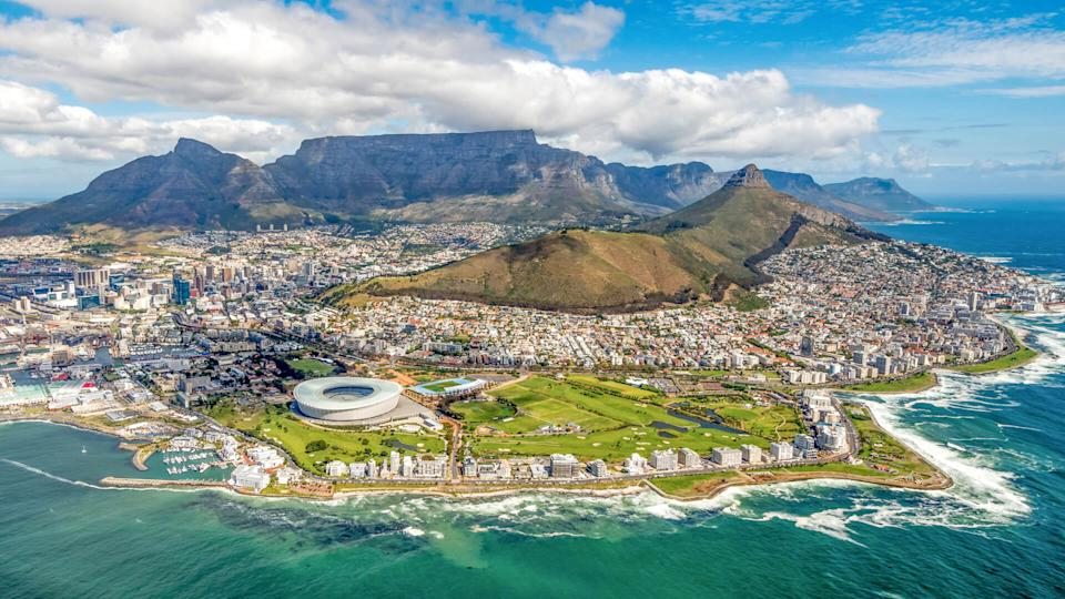 Cape Town and the 12 Apostels from above in South Africa.