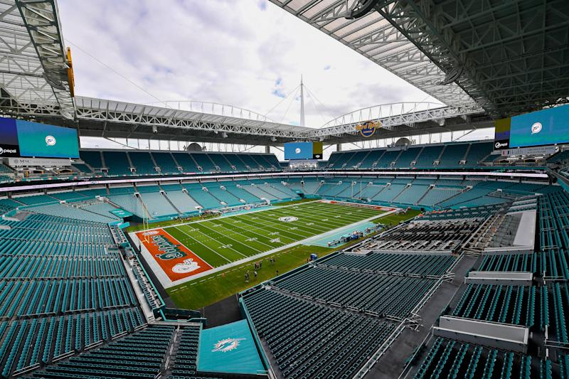 MIAMI, FLORIDA - DECEMBER 01: A general view of the field prior to the game between the Miami Dolphins and the Philadelphia Eagles at Hard Rock Stadium on December 01, 2019 in Miami, Florida. (Photo by Mark Brown/Getty Images)