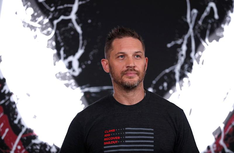 "Cast member Tom Hardy poses at a photo call for the movie ""Venom"" in Los Angeles, California, U.S., September 27, 2018. REUTERS/Mario Anzuoni"