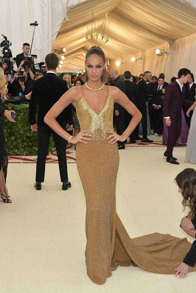 <p>Joan Smalls attends the Heavenly Bodies: Fashion & The Catholic Imagination Costume Institute Gala at The Metropolitan Museum of Art on May 7, 2018 in New York City. (Photo: Getty Images) </p>