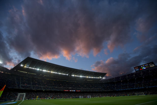 A view of Camp Nou stadium during a Spanish La Liga soccer match between Barcelona and Alaves at Camp Nou stadium in Barcelona, Spain, Saturday, Dec. 21, 2019. (AP Photo/Joan Monfort)