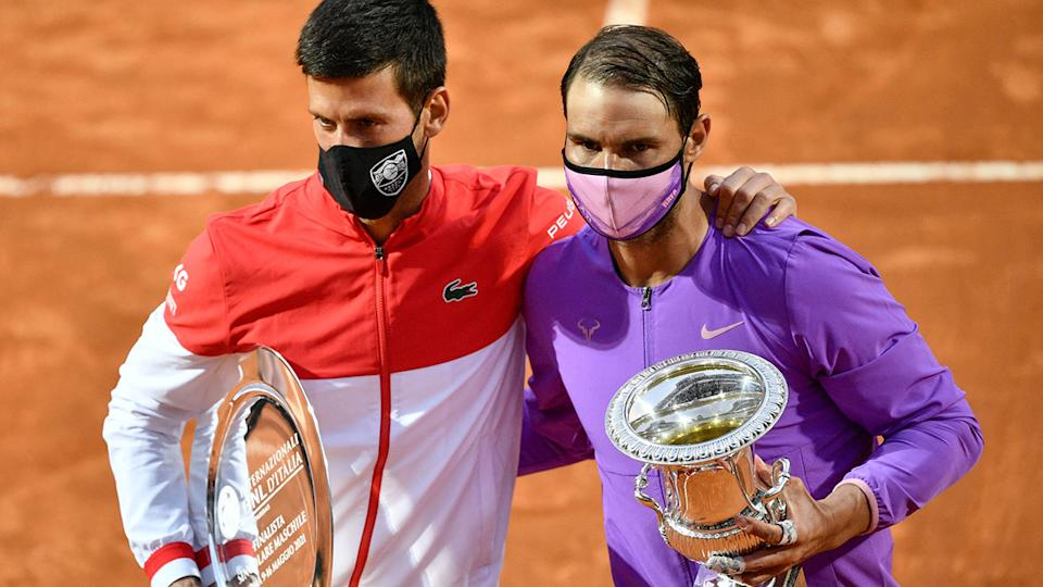 Novak Djokovic and Rafael Nadal, pictured here after the Italian Open final.
