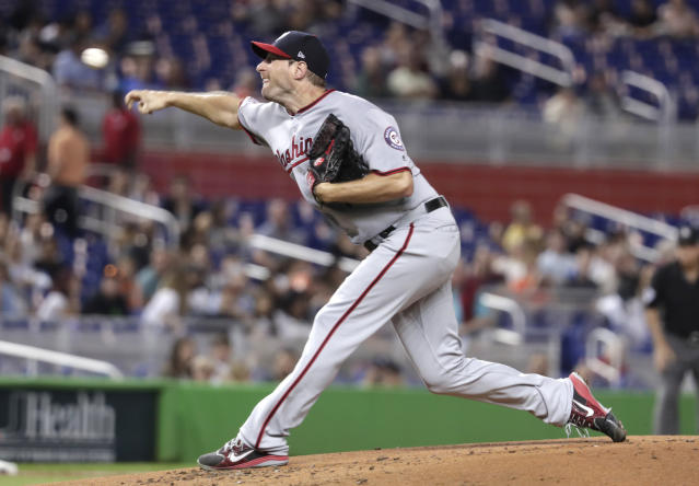 Washington Nationals starting pitcher Max Scherzer delivers during the first inning of a baseball game against the Miami Marlins, Friday, May 25, 2018, in Miami. (AP Photo/Lynne Sladky)