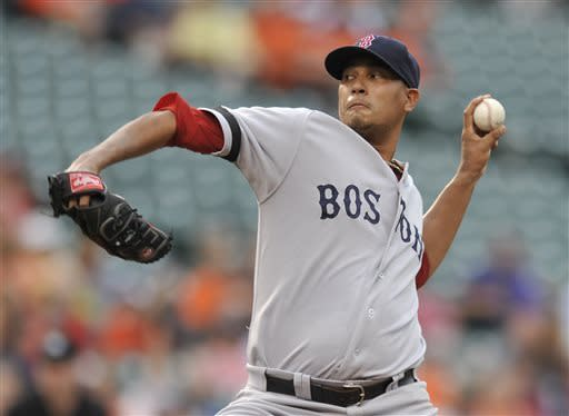 Boston Red Sox pitcher Felix Doubront delivers against the Baltimore Orioles in the first inning of a baseball game Thursday, June 13, 2013, in Baltimore. (AP Photo/Gail Burton)