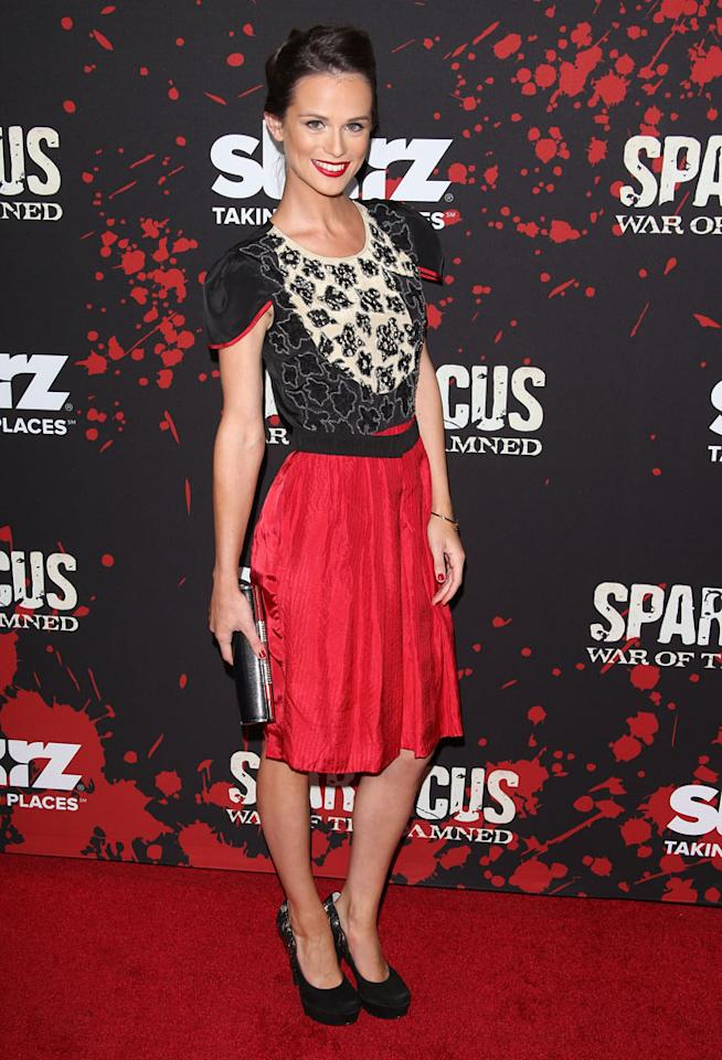 "Gwendoline Taylor attends the premiere of Starz's ""Spartacus: War of the Damned"" at Regal Cinemas L.A. Live on January 22, 2013 in Los Angeles, California."