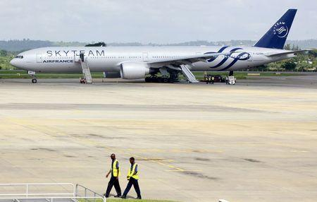 A view of an Air France Boeing 777 aircraft that made an emergency landing is pictured at Moi International Airport in Kenya's coastal city of Mombasa