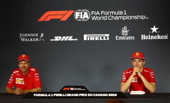 The Ferrari drivers after the race (Getty)