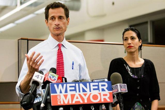 <em>Ex-New York City mayoral candidate Anthony Weiner speaks during a news conference alongside his wife, Huma Abedin, in New York [Photo: John Minchillo/AP]</em>