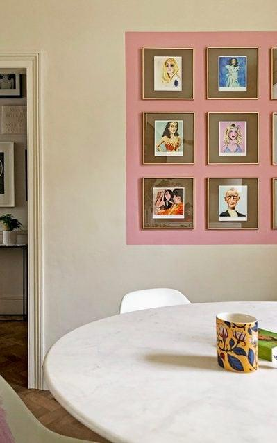 The colour-blocked wall in Bianca Hall's dining room