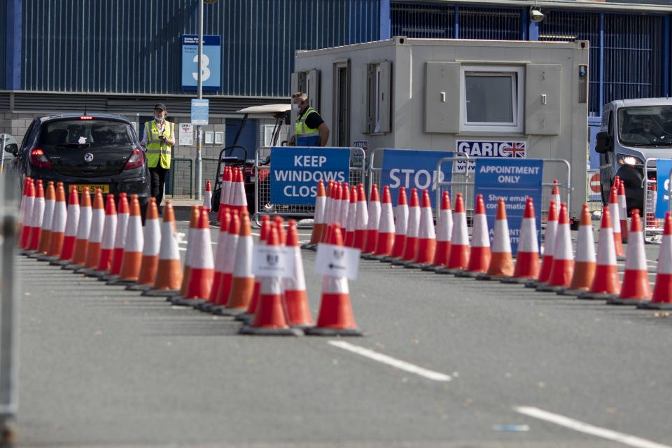 CARDIFF, WALES, UNITED KINGDOM - SEPTEMBER 09, 2020 - The entrance to the drive-through coronavirus test centre at Cardiff City Stadium as new cases of the virus rise across the UK. - PHOTOGRAPH BY Mark Hawkins / Barcroft Studios / Future Publishing (Photo credit should read Mark Hawkins/Barcroft Media via Getty Images)