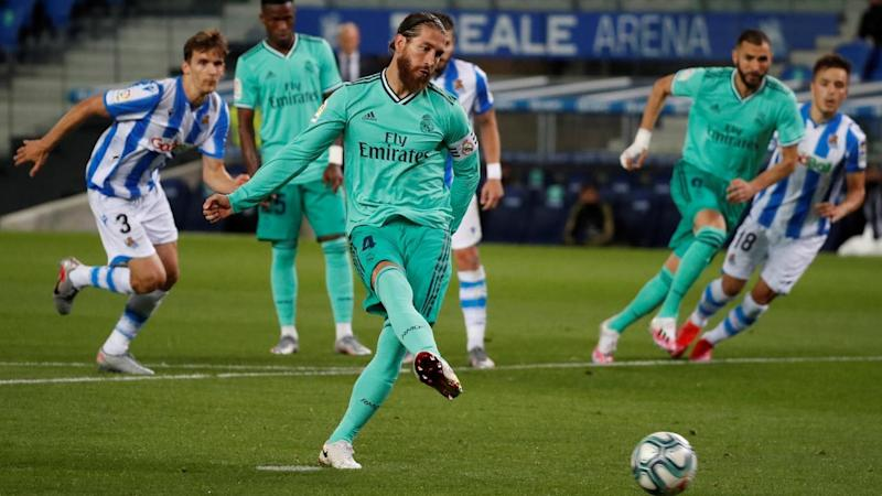 Sergio Ramos became La Liga's highest scoring defender with a penalty in the win over Real Sociedad