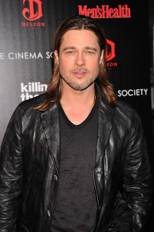"""NEW YORK, NY - NOVEMBER 26:  Actor Brad Pitt attends The Cinema Society with Men's Health and DeLeon hosted screening of The Weinstein Company's """"Killing Them Softly"""" on November 26, 2012 in New York City.  (Photo by Stephen Lovekin/Getty Images)"""