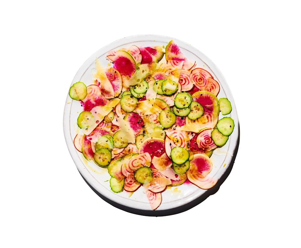 "A light and refreshing start to the holiday meal. <a href=""https://www.epicurious.com/recipes/food/views/crunchy-salty-lemony-salad?mbid=synd_yahoo_rss"" rel=""nofollow noopener"" target=""_blank"" data-ylk=""slk:See recipe."" class=""link rapid-noclick-resp"">See recipe.</a>"