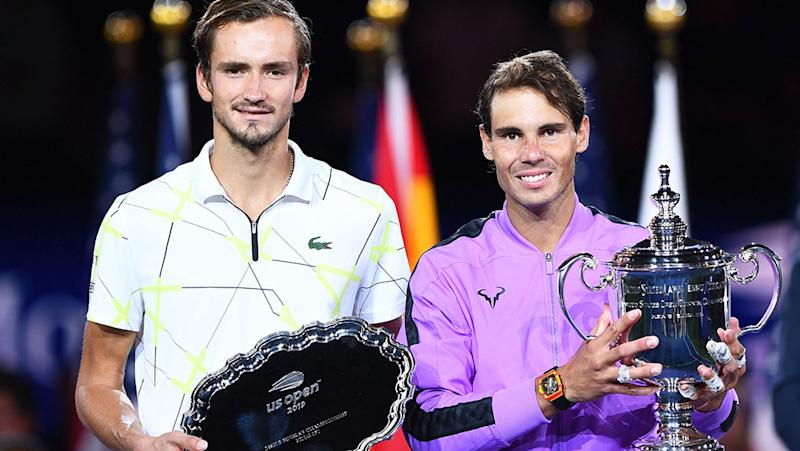 Daniil Medvedev and Rafael Nadal, pictured here after the US Open final.