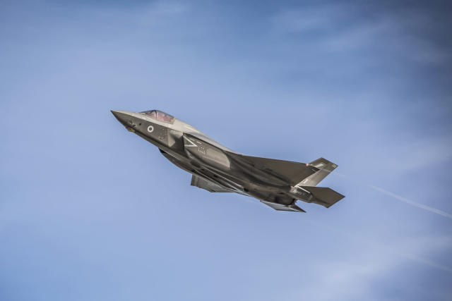 Image shows an F35b Lightning Aircraft during take-off as it departs from Royal Air Force (RAF) Marham to Marine Corps Air Station (MCAS) Beaufort (Picture: UK MOD/Crown 2019)
