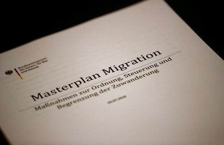 "FILE PHOTO: Cover sheet of the ""Migrant Masterplan"", which will be presented to the media by German Interior Minister Horst Seehofer in Berlin, Germany, July 10, 2018. REUTERS/Hannibal Hanschke/File Photo"