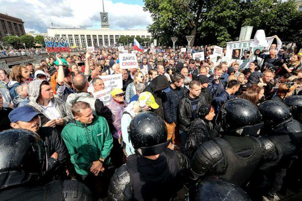 PHOTO: People take part in a solidarity rally in Lenina Square in support of rejected independent candidates in the upcoming Moscow City Duma election, Aug., 03, 2019. (Peter Kovalev/TASS via ZUMA )