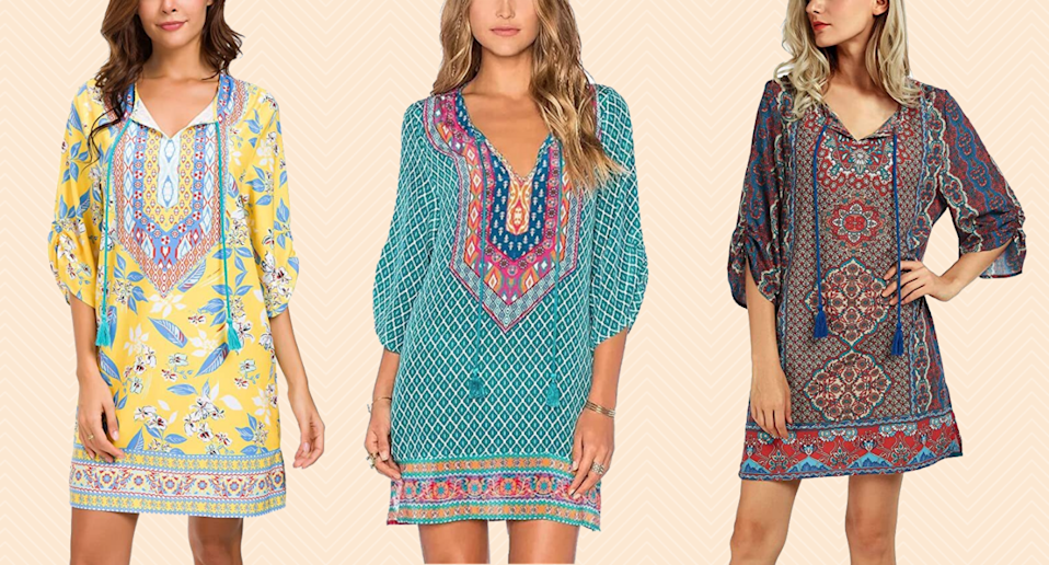 Urban CoCo Bohemian Print Shift Tunic Dress.