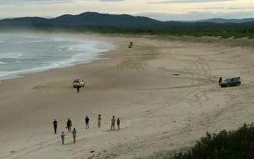The scene at the beach where the young surfer died after he was bitten by a shark