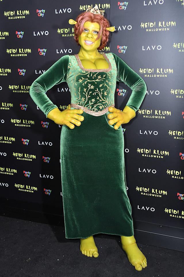 <p>The supermodel and Project Runway host transformed herself into the cartoon character Princess Fiona, from the movie Shrek. Photo: Getty Images </p>