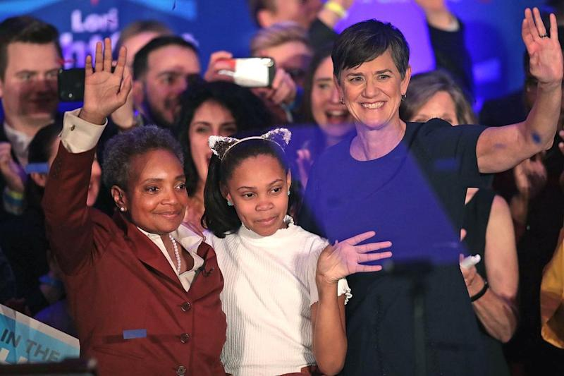 From left: Lori Lightfoot with daughter Vivian and wife Amy Eshleman | Scott Olson/Getty