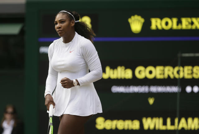 Serena Williams is playing some of her best tennis, and she'll go for her eighth Wimbledon title on Saturday. (AP Photo/Tim Ireland)