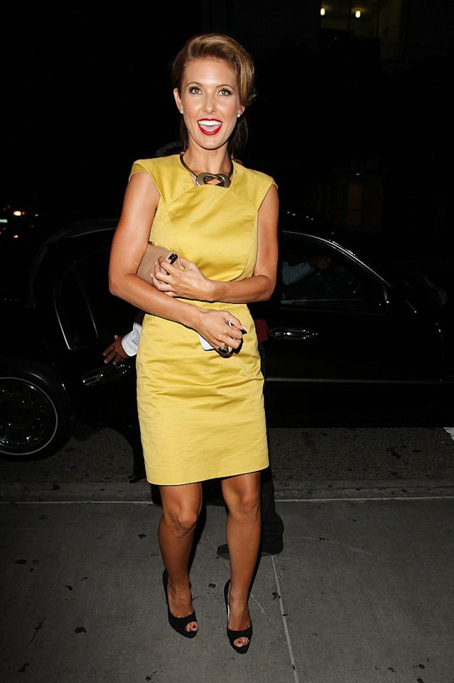 "Also spotted out and about and looking lovely (in a luscious lemon dress and bright red lips) ... former ""Hills"" hottie Audrina Patridge, who will soon be seen kicking up her heels on the highly anticipated 11th season of ""Dancing With the Stars."" Hellmuth Dominguez/<a href=""http://www.pacificcoastnews.com/"" target=""new"">PacificCoastNews.com</a> - August 30, 2010"