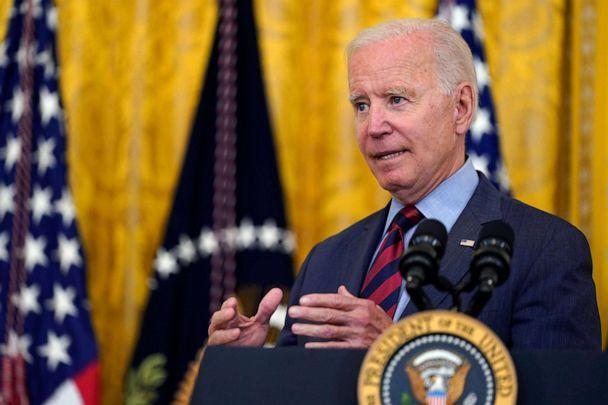 PHOTO: President Joe Biden answers a question from a reporter as he speaks about the coronavirus pandemic in the East Room of the White House in Washington, Aug. 3, 2021. (Susan Walsh/AP)