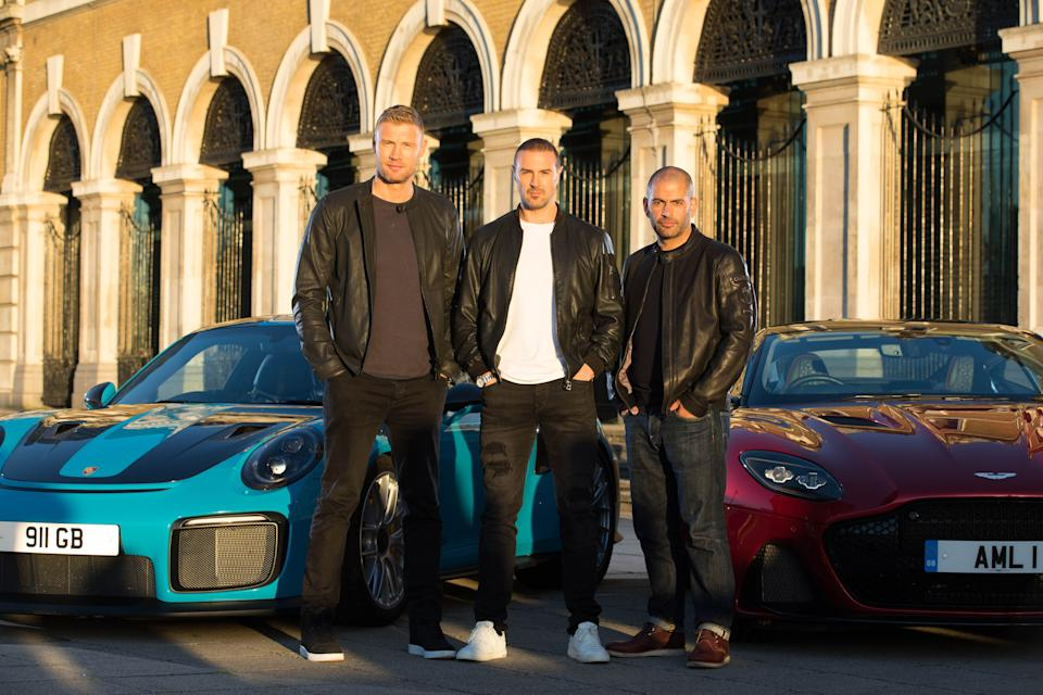 Andrew 'Freddie' Flintoff, Paddy McGuinness and Chris Harris with a Porsche 911 GT2 RS and an Aston Martin DBS Superleggera at Billingsgate Market, London as they are revealed as BBC Top Gear's new presenting line-up. (Credit: PA)