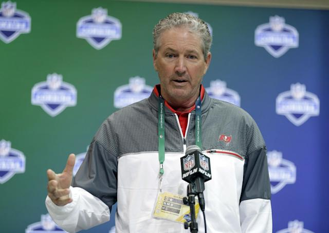 Tampa Bay coach Dirk Koetter apologized to the Falcons for a tweet he thought went too far. (AP)