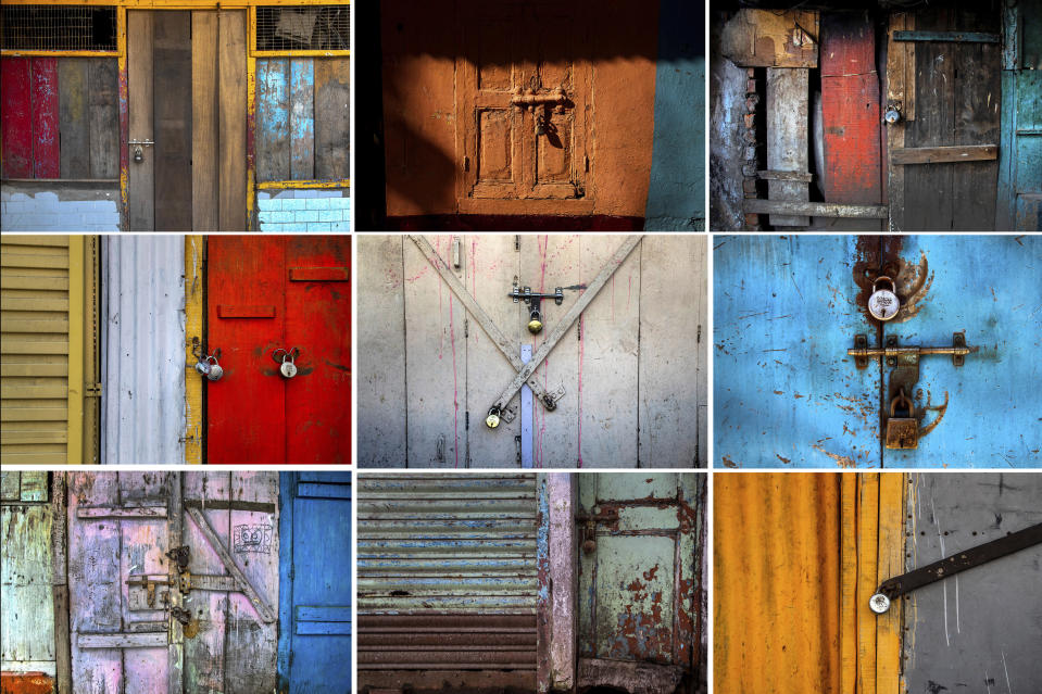 This combination photo shows locked shops at a market area in Gauhati, India on June 18, 2021. Rows of locked shops confront bargain-hunters for most of the day in Fancy Bazar, a nearly 200-year-old market that offered cheap prices until the COVID-19 pandemic hit Gauhati, the biggest city in India's remote northeast. (AP Photo/Anupam Nath)